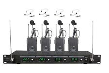 4 Channel VHF Headset Lavalier Wireless Microphone System Mic (Brand New) 380L