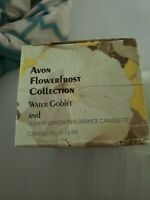 New Avon Flowerfrost Collection Water Goblet And Sunny Lemon Fragrance Candlette