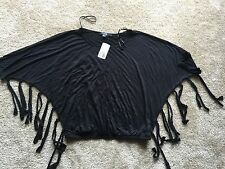 Nwt women's black tee shirt top blouse 3/4 sleeve tunic size small.