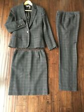 Salvatore Ferragamo 3 Peice Blazer Skirt Pant Suit Gray Wool Italy Sz 40 Small
