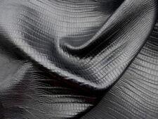 lambskin leather hide XL HEAVY WEIGHT Jet Black Lizard/Reptile Embossed Pattern