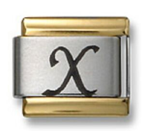 Italian Charm Bracelet Link Laser Initial Letter X Gold Trim Stainless Steel 9mm