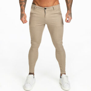 GINGTTO Men Chino Skinny Slim Fit Khaki Chinos Stretch Golf Trousers Ankle Tight