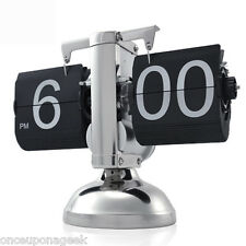 Vintage Retro Auto Flip Clock Gear Operated Single Stand Desktop Metal Decor