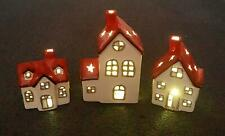 3 x Christmas Handmade Decorated lightup Sparkly Glitter Porcelain Red Houses