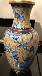 1850 To 1899 Cloisonné antique Enamel Chinese Glaze flowers birds Gilt Vase