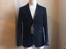 H&M BLACK WOOL TWO BUTTON TAILORED DRESS TUXEDO BLAZER COAT JACKET S 42 R 52 EU