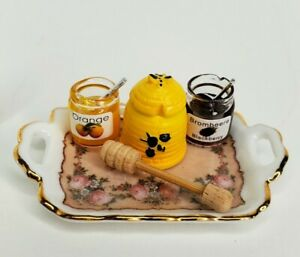 GERMAN Reutter Porzellan Honey Pot & Jam 1:12 Dollhouse Miniature Jelly Jars