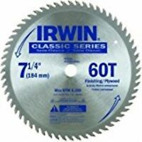 "IRWIN Tools Classic Series Carbide Corded Circular Saw Blade, 7 1/4"",60T"