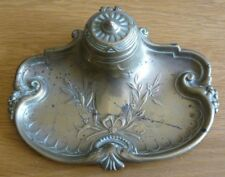New Fashion Rare Antique Art Nouveau Hans Peter Juventa Prima Metal/pewter Deskstand/inkwell Modern Design Antiques Inkwells