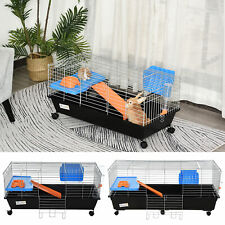 Small Animal Cage Rabbit Guinea Pig Hutch Pet Play House with Platform Ramp