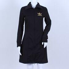Vintage Adidas Spell Out Black Gold Trefoil Long Sleeve High Neck Zip Dress 6 8