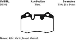 EBC Redstuff Ceramic Brake Pad Set Front-Rear for Ferrari Aston Martin Maserati