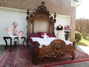 RARE VICTORIAN ROCOCO ROSEWOOD A C RICHARDS QUEEN SIZE BED