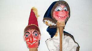 VINTAGE / ANTIQUE WOODEN PUNCH AND JUDY PUPPETS  CARVED HEAD TOYS