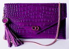 New Kerry Washington Dee Ocleppo Purple Purse Crocodile Embossed Clutch Bag NWT