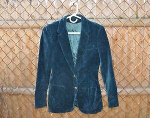 Vintage 70s Sir For Her teal velvet blazer XS