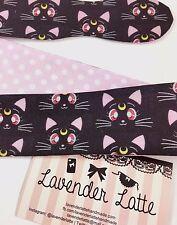 Sailor Moon Luna and Pink Polka Dot Reversible Head Tie Black Cat