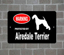 Property protected by Airedale Terrier dog breed metal aluminum sign