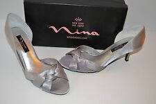 Nina CRISTA SHOES Royal Silver Satin WEDDING Heels Pumps Evening Dress SZ 9.5