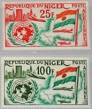 NIGER 1961 18-19 C20-21 Admission to United Nations UN Flag & Map Airplane MNH