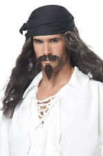 Pirate Adult Costume Wig with Moustache and Chin Patch Jack Sparrow