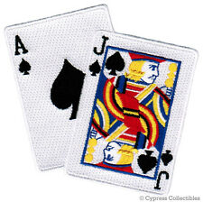 BLACKJACK BIKER PATCH - embroidered ACE JACK SPADES CARDS iron-on GAMBLING GIFT
