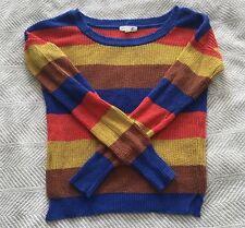 Mine Knit Sweater Orange Yellow Brown Blue Bold Stripe Color Block Retro Small