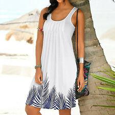 Women Summer Holiday Sleeveless Printed Tank Dress Boho Party Beach Sundress CA