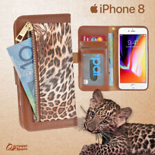 Leopard Zip Wallet Bag ID Card Flip Leather Case Cover For iPhone 8 / 8 Plus / 7