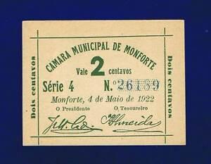PORTUGAL CAMAMRA MUNICIPAL MONFORTE, 2 CENTAVOs 1922 UNCIRCULATED-RARE-