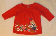 Girls ZUTANO long sleeve red shirt with flowers & animal Size 6 months