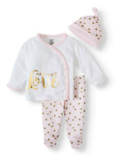 *NEW GERBER BABY GIRL PREEMIE ORGANIC COTTON TAKE ME HOME (MADE WITH LOVE ) 3 PC