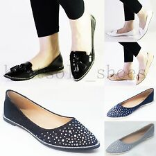 New Womens Ladies Diamantee Flats Ballerina Loafers Pointy Toe Pumps Shoes Size