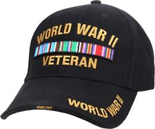 Black World War II Veteran Embroidered Deluxe Low Profile Baseball Cap Hat