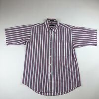 Christian Dior Monsieur Mens Short Sleeve Button Down Shirt Pink Striped Medium