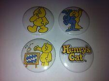 4 Henry's Cat button badges 25mm cult retro 80s 90s kids TV UK USA