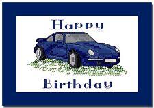 """PORSCHE 911 - HAPPY BIRTHDAY - CROSS STITCH CARD KIT - 8"""" x 6"""" (20.2cm x 15cm)"""