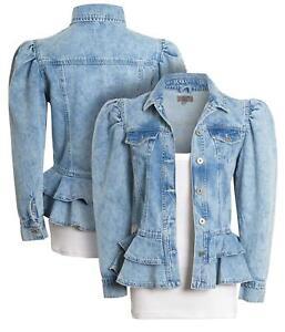 Womens Puff Sleeve Denim Jacket Peplum Jackets Stonewash Blue Size 14 12 10 8 16