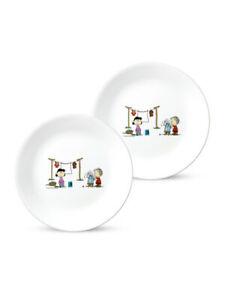 Corelle & Snoopy The Home Round Medium Plate 2pcs Set Kitchen Tableware Dinner