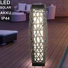 LED Solar Außen Tisch Leuchte grau Rattan Optik Garten Veranda Stand Steh Lampe