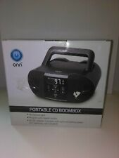 ONN Portable CD Player Old School Boombox Stereo with Digital FM Radio - Black