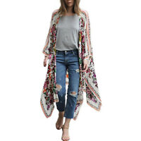 AU Womens Floral Print Chiffon Loose Kimono Cardigan Tops Shirt Blouse Plus Size