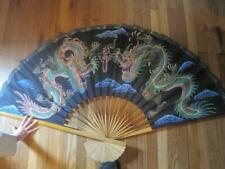 """Vintage Chinese Wall Fan Hand Painted Silk Bamboo Asian Decor 60"""""""