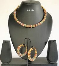 Indian Fashion Jewelry Bollywood Bridal Gold CZ Multicolor Necklace Earrings Set