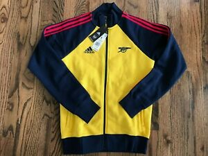 60 Mens Adidas Arsenal Icons Top FQ6925 Track Jacket Eqt Yellow Size Small
