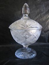 Vintage Beautiful Cut Crystal European Geometric Footed Fruit Bowl With Lid