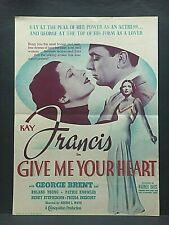 """1936 movie herald...""""Give Me Your Heart""""...Kay Francis & George Brent"""