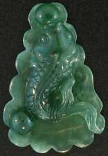 Natural Green Jadeite Jade Loose Carved Fish