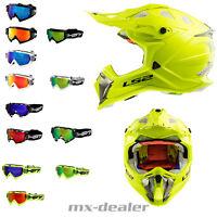 LS2 MX 470 Subverter Neon Gelb + HP7 Cross Brille MX Helm Crosshelm Motocross